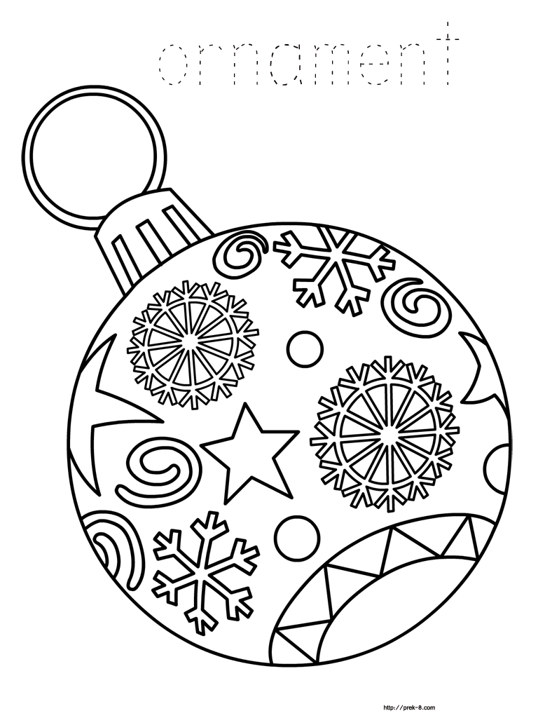 768x1024 Printable Christmas Ornaments Coloring Pages