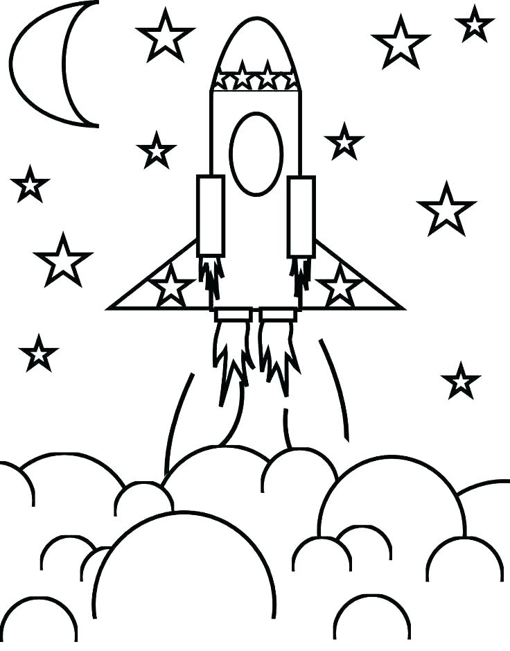 Saturn and Spaceship Coloring Page | 939x736