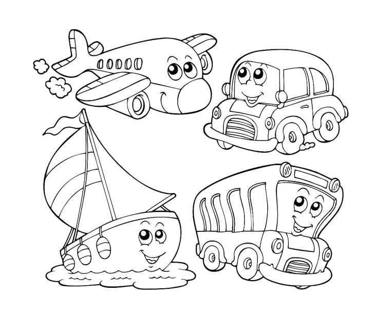 728x616 Transportation Coloring Pages For Kindergarten