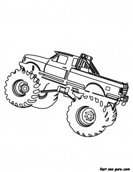 262x338 Free Printable Monster Truck Coloring Page For Boy Birthday
