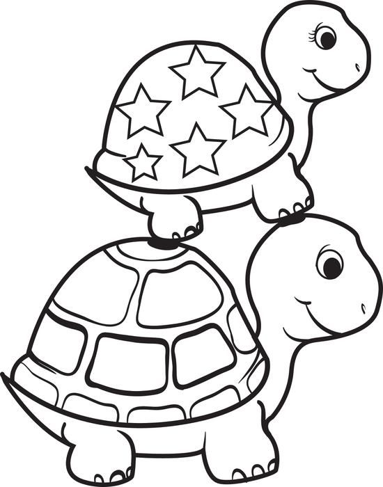 550x700 Turtle On Top Of A Turtle Coloring Page Free Printable, Turtle