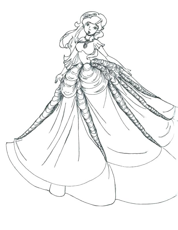 618x799 Wedding Dress Coloring Pages In Her Wedding Dress In Coloring Page