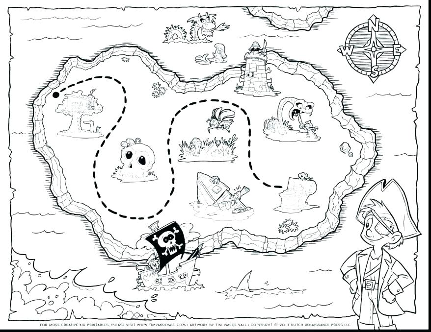 878x678 Printable Pirate Map Treasure Map Coloring Pages Treasure Map