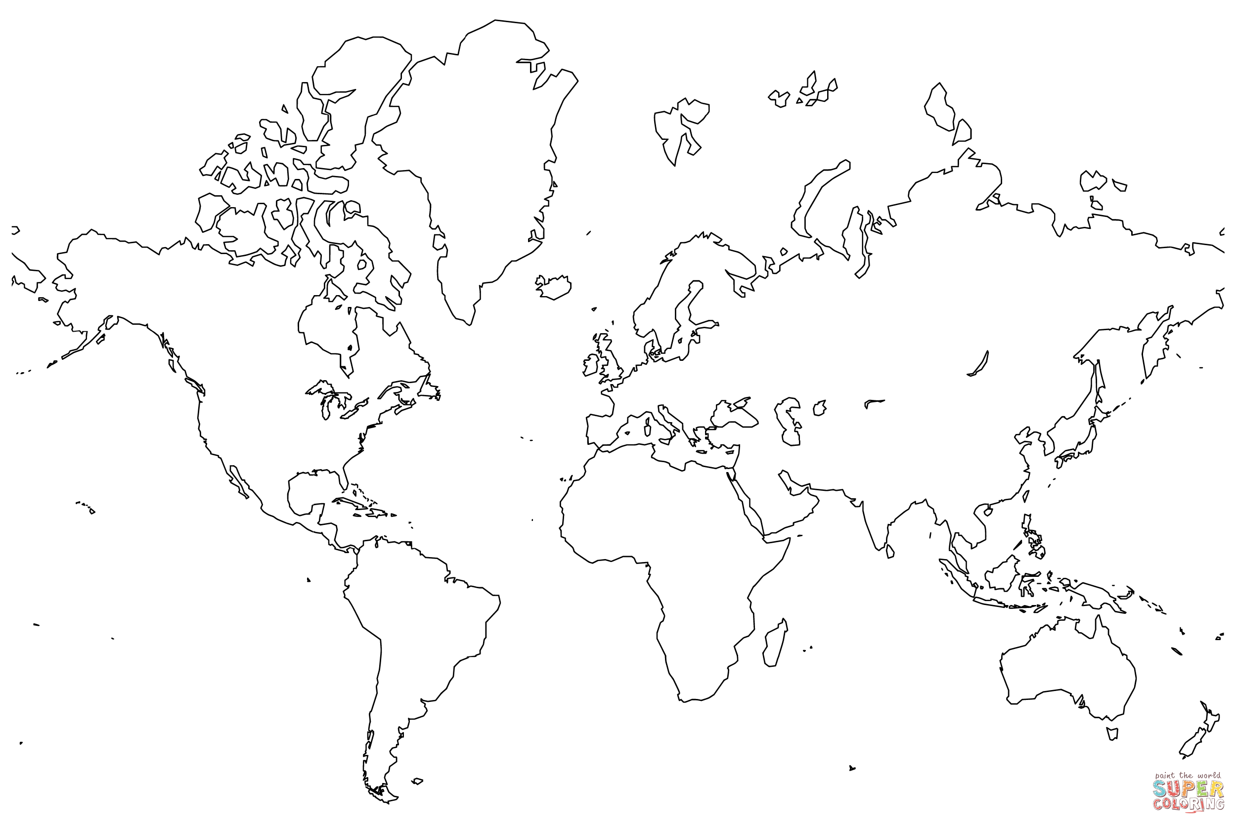 Printable World Map Coloring Page at GetDrawings com | Free