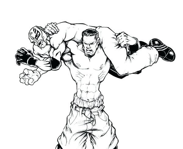 600x489 John Drawing At Free For Personal Use Wrestlers Coloring Pages