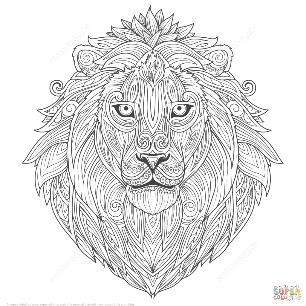1024x1024 Stunning Ideas Coloring Page Zentangle Lion Ethnic Zentangle