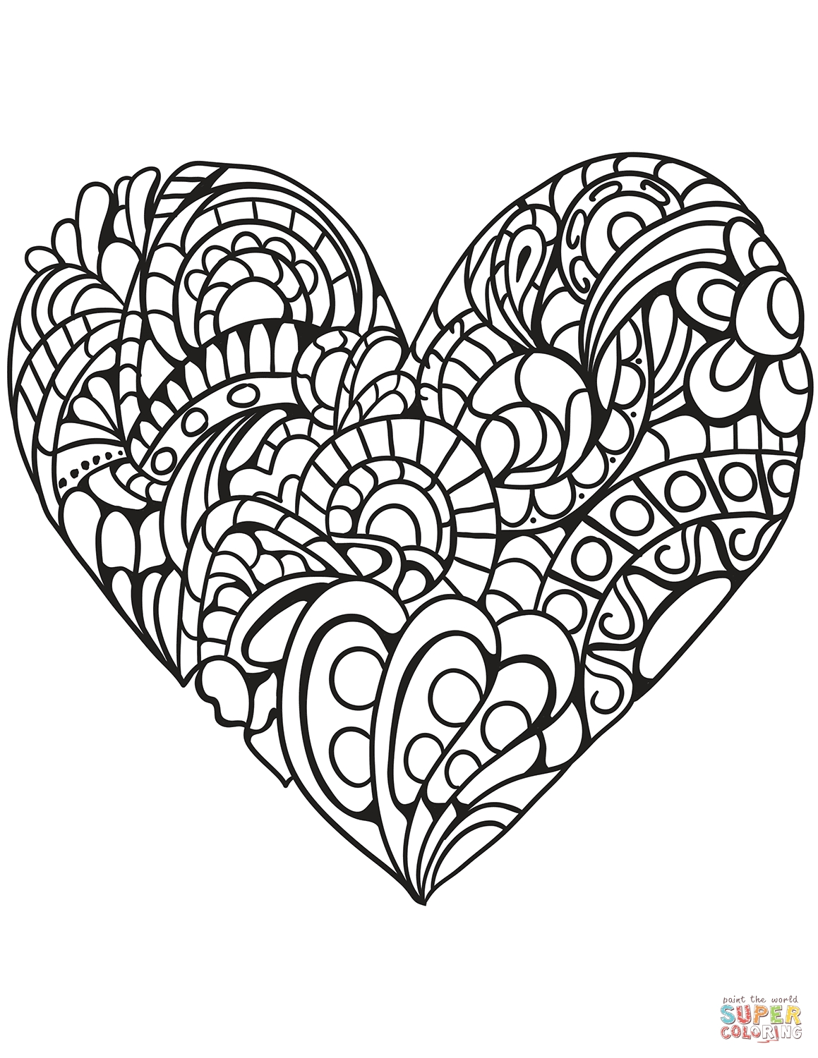 1159x1500 Heart Zentangle Coloring Pages Printable Coloring For Kids