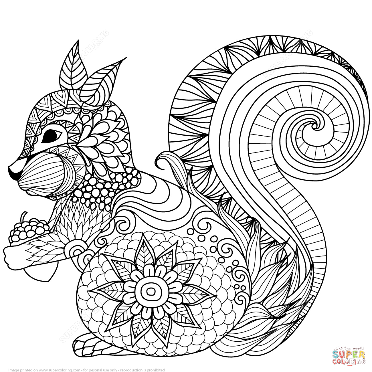 1300x1300 Lovely Squirrel Zentangle Coloring Page Free Printable Coloring