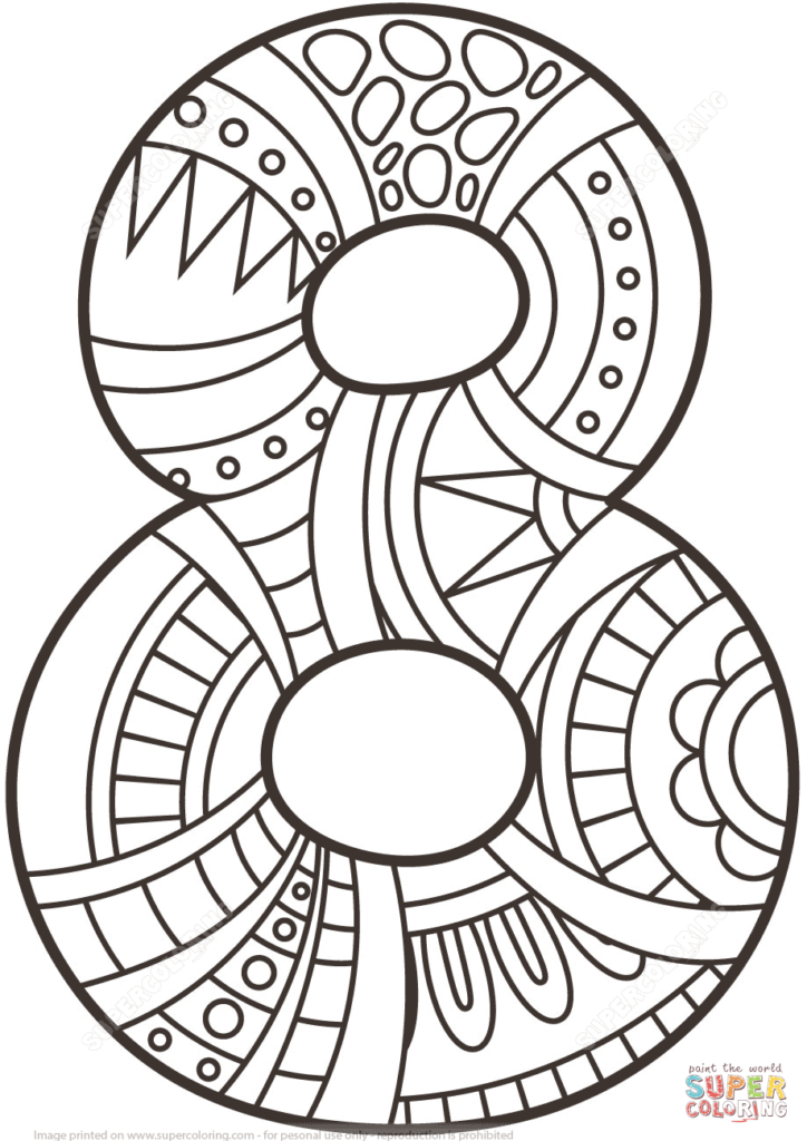 724x1024 Number Zentangle Coloring Page Free Printable Pages