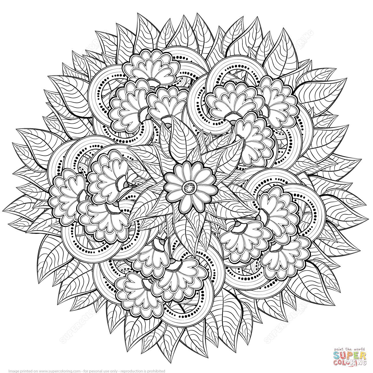 1300x1300 Zentangle Coloring Page Acpra