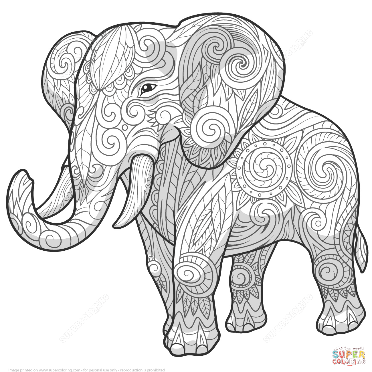 1300x1300 Zentangle Coloring Pages Elephant Ethnic Zentangle Coloring Page