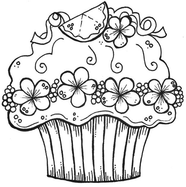 627x630 Cupcake Zentangle Coloring Pages Printable In Tiny Print Draw