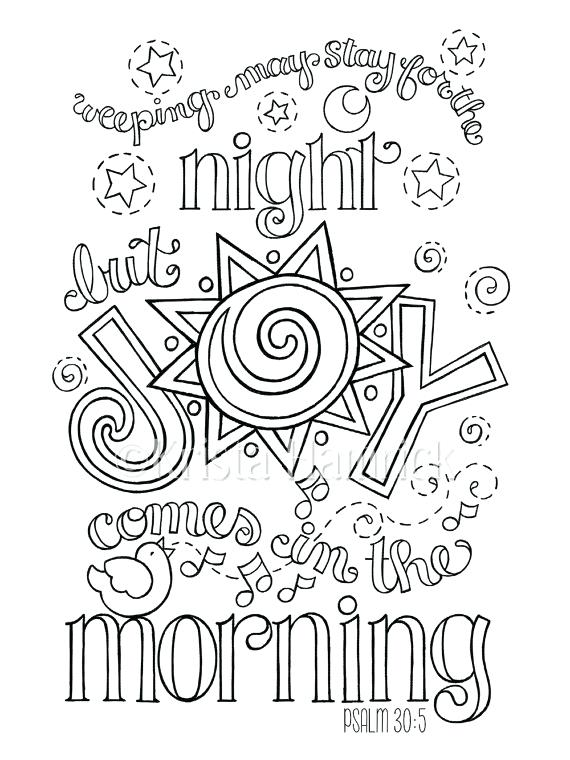 570x760 Joy Comes In Morning Coloring Page As Well As Joy Comes