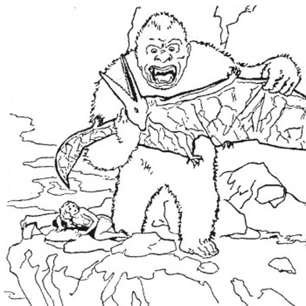 600x600 King Kong Kill Pteranodon Coloring Pages King Kong Kill