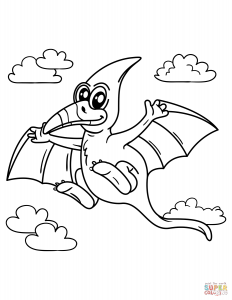 232x300 Pteranodon Coloring Pages Free Printable Animals Page Dinosaur