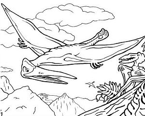 300x240 Pterodactyl Dinosaur Coloring Page