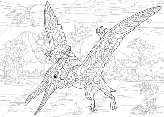 570x407 Pterodactyl Dinosaur Pterosaur Dino Coloring Pages Animal