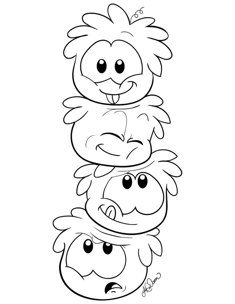 786x1017 Stacked Puffle Colouring Page