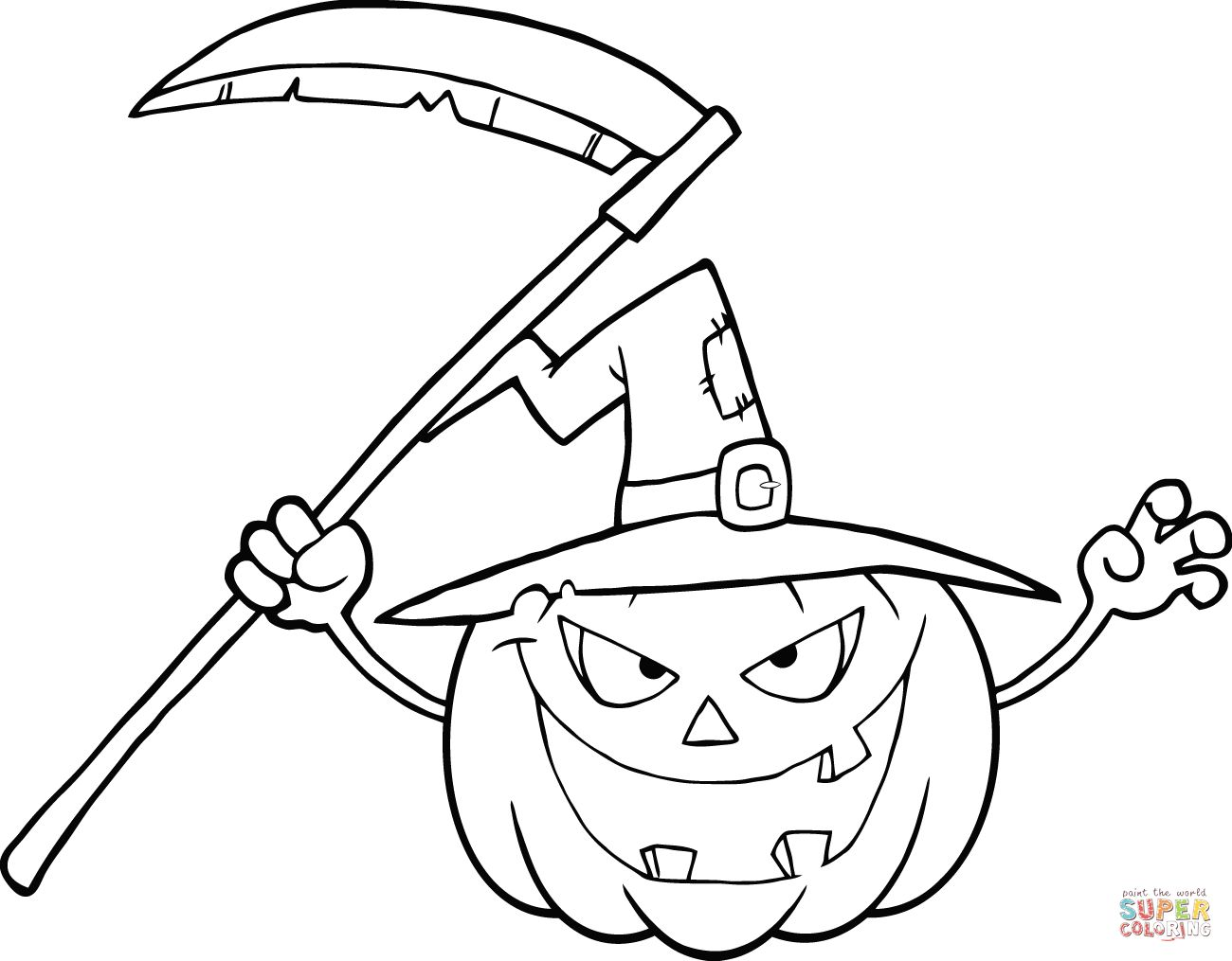 1300x1015 Halloween Pumpkin With A Witch Hat And Scythe Coloring Page