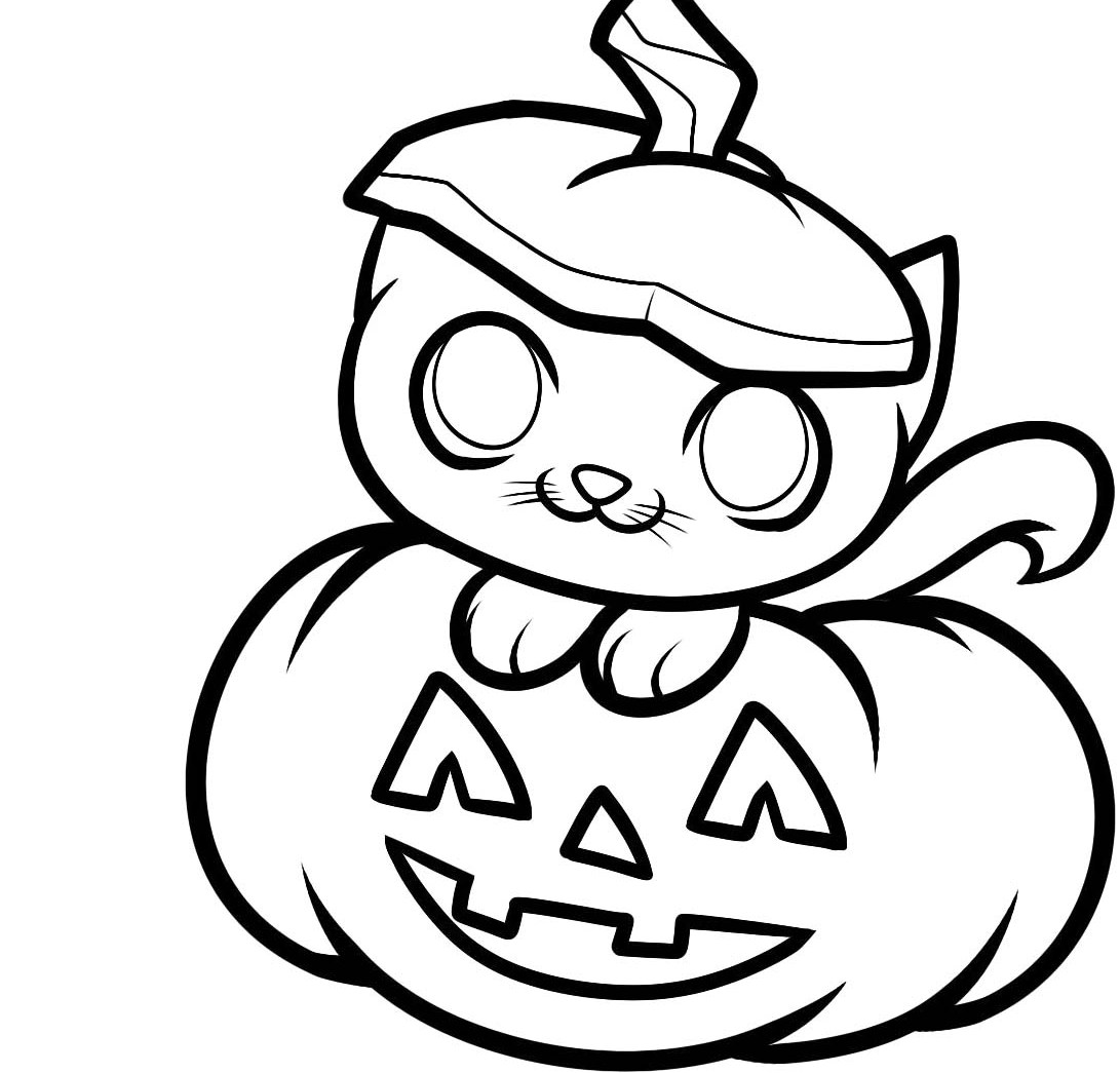 1091x1045 Special Fall Pumpkin Coloring Pages For Kids And Funny Squirrel