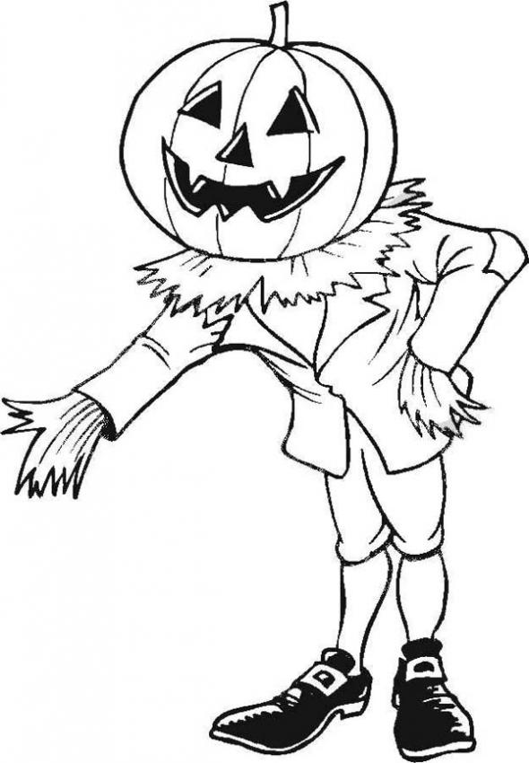 590x850 Scarecrow In Pumpkin Patch Coloring Pages