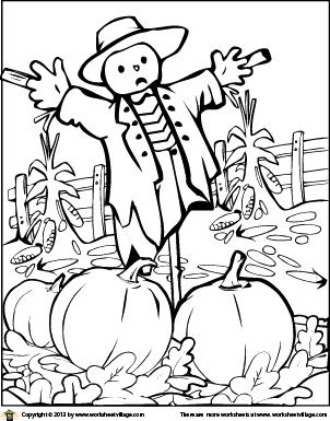 302x385 Scarecrow In The Pumpkin Patch Coloring Page Worksheet Village