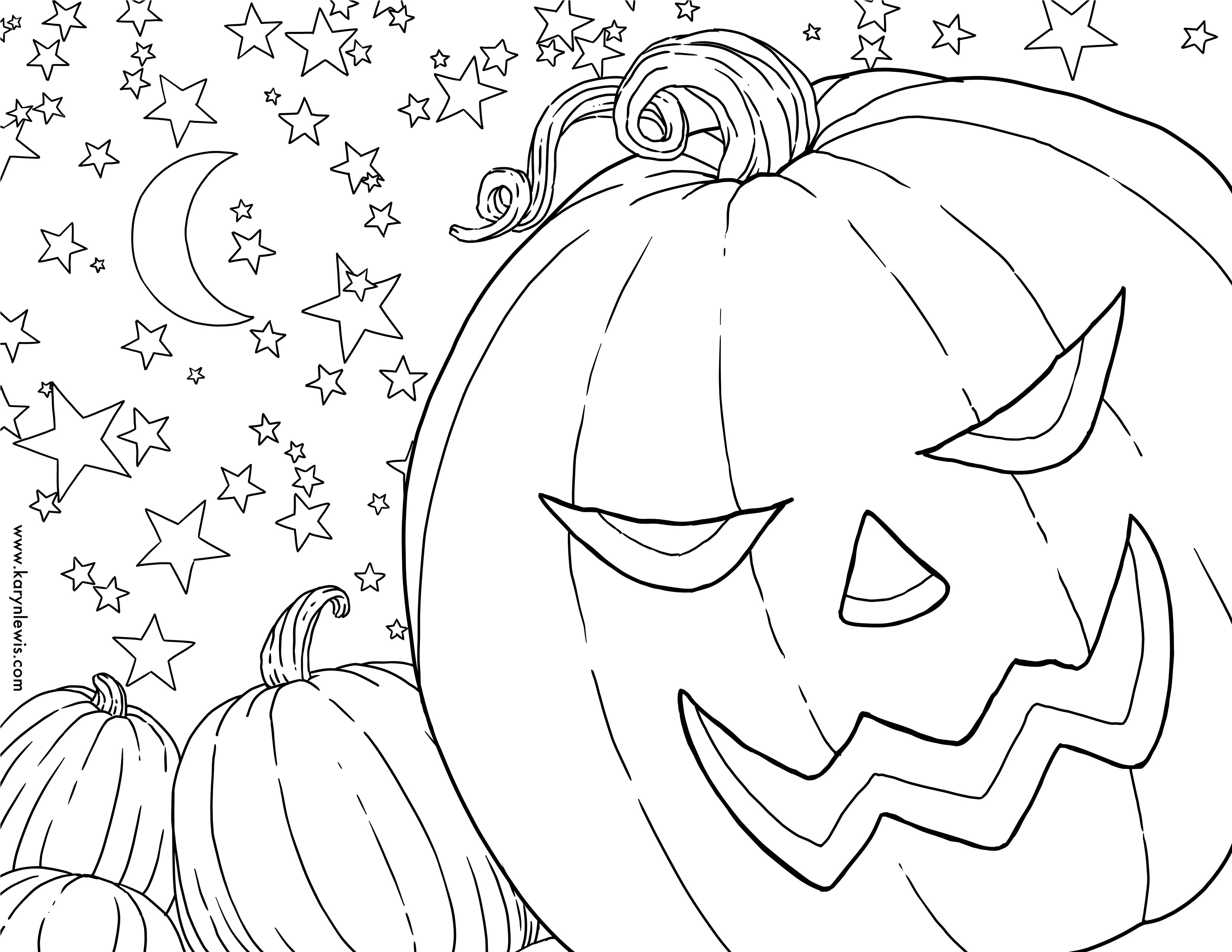 3300x2550 Free Pumpkin Patch Halloween Coloring Page Karyn Lewis Illustration