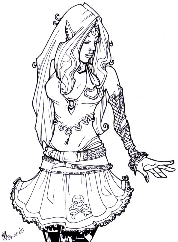 594x805 Amazing Punk Rock Coloring Pages Gift