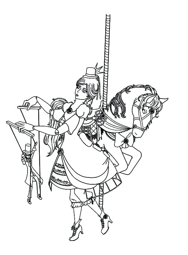 600x815 Carousel Coloring Page Carousel Horse And Lady Puppet Master