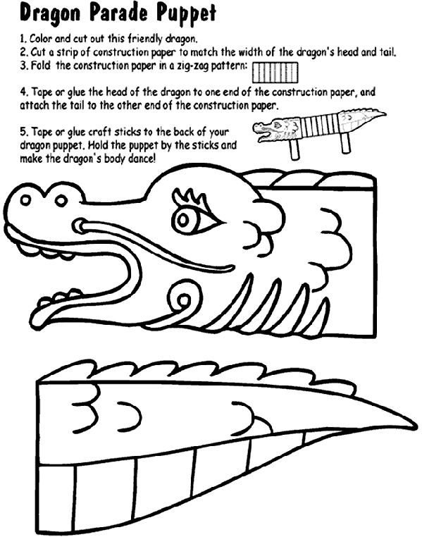 599x762 Dragon Parade Puppet Coloring Page