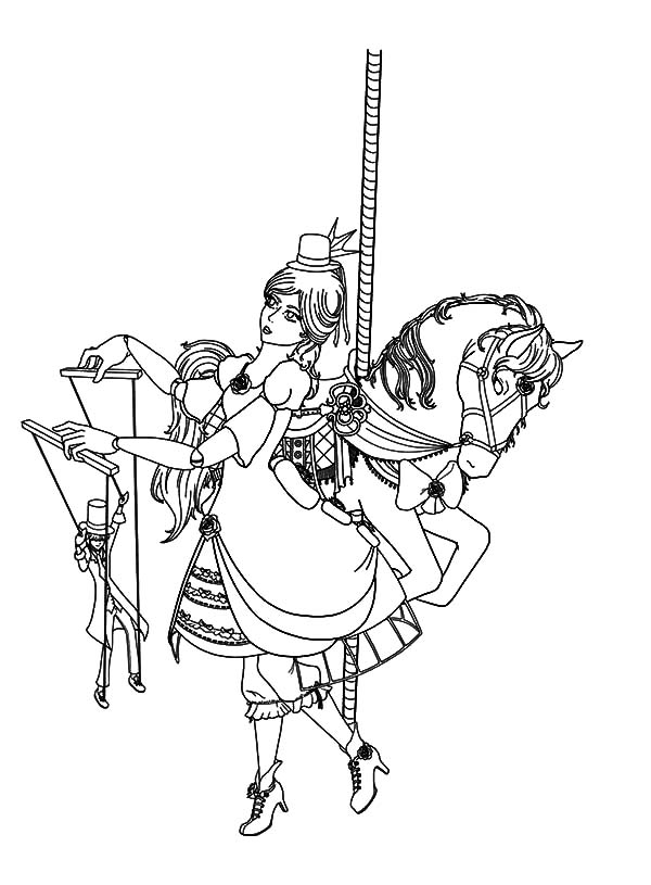 600x815 Carousel Horse And Lady Puppet Master Coloring Pages Carousel