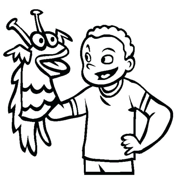 600x612 Puppet Coloring Pages Hand Puppet Coloring Page Playing Hand