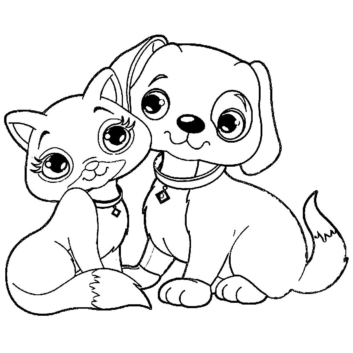 1203x1203 Puppy And Kitty Coloring Pages Of A Go Digital With Us