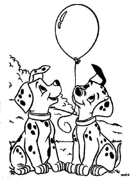 518x713 The Puppies Of Dalmatians Playing A Balloon Coloring Pages