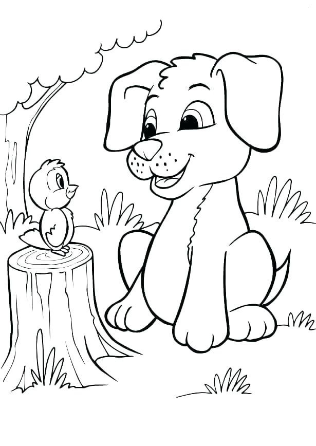615x868 Puppy Dog Coloring Page Puppy Coloring Pages To Print Bird
