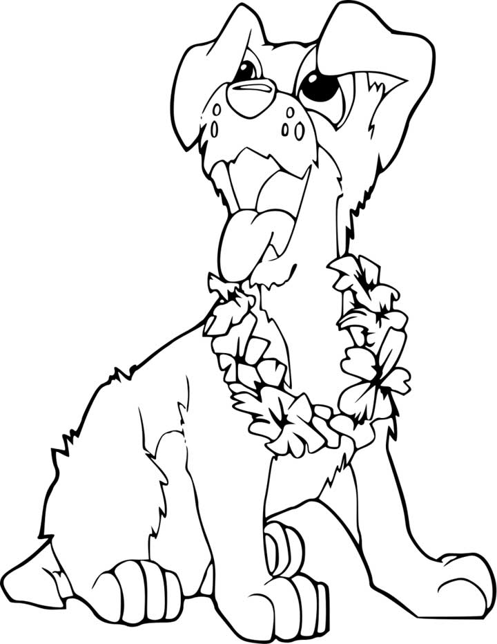 720x932 Puppy Outline Coloring Page