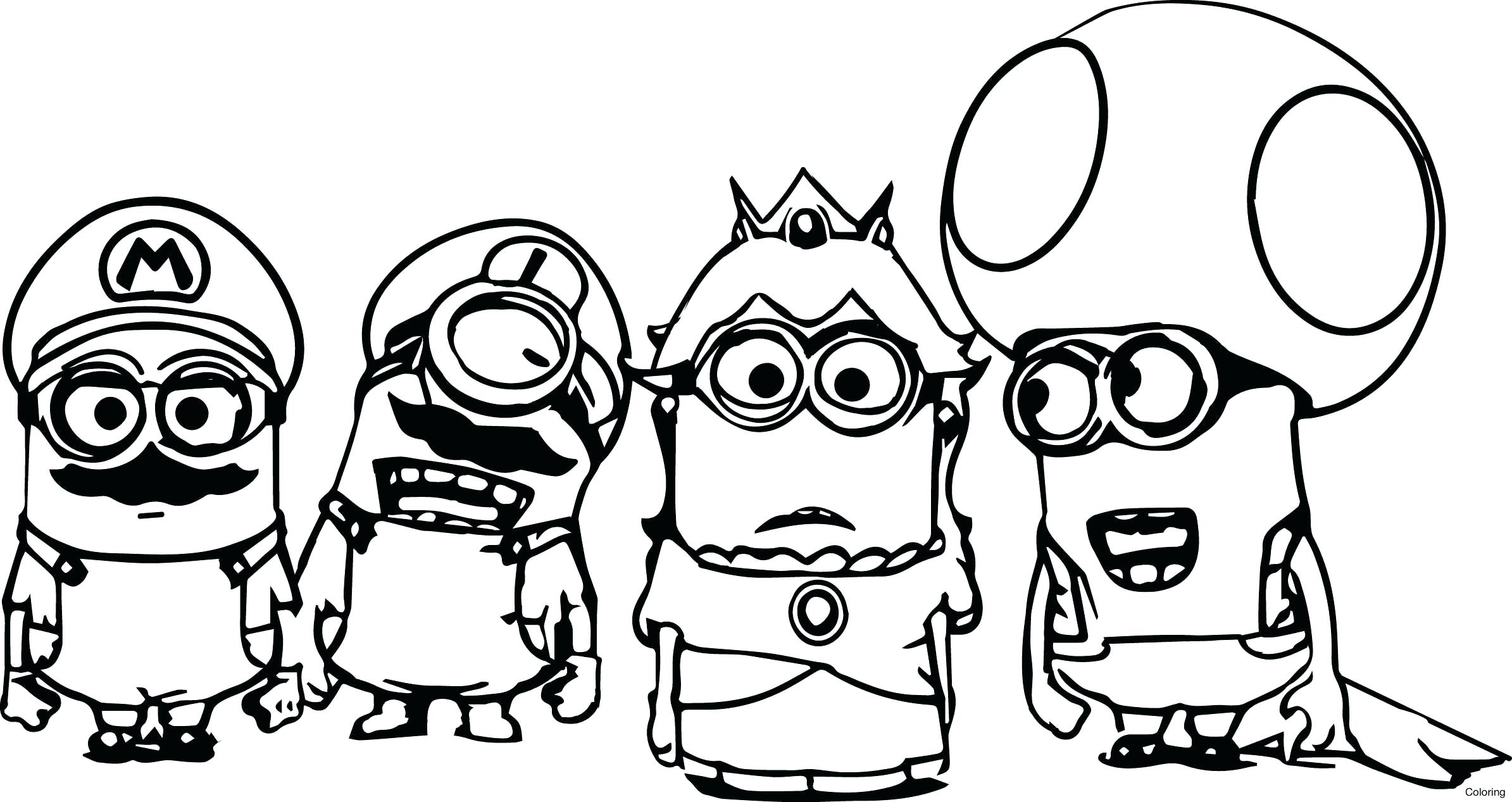 2389x1267 Purple Minion Coloring Page