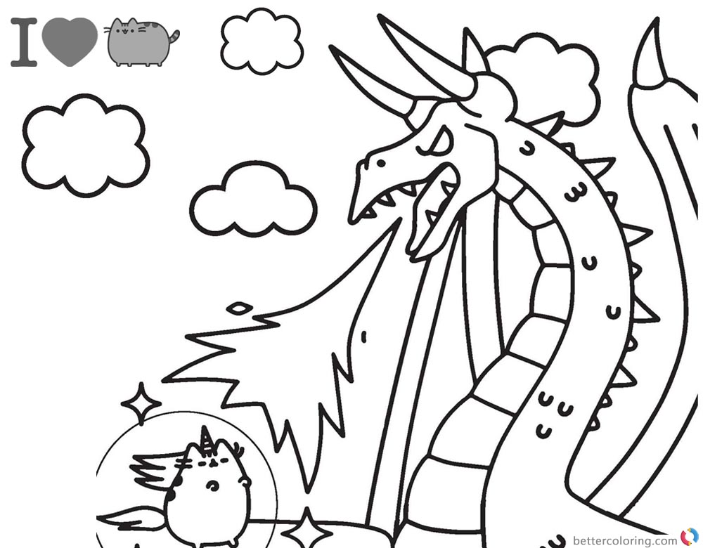 1000x780 Pusheen Coloring Pages Fighting Against Dragon