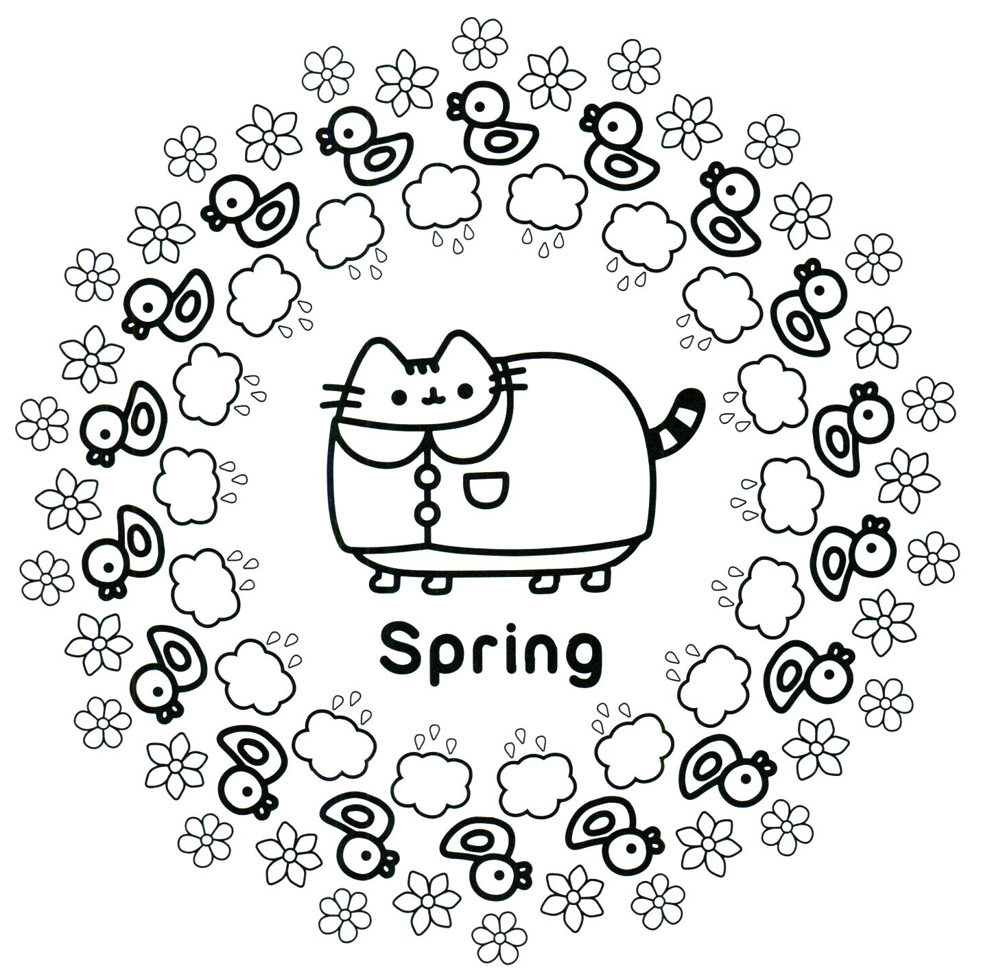 Pusheen Coloring Pages To Print at GetDrawings | Free download