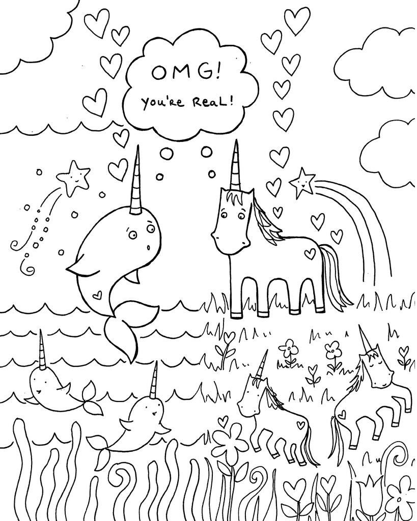 It is a graphic of Lively Unicorn And Mermaid Coloring Pages