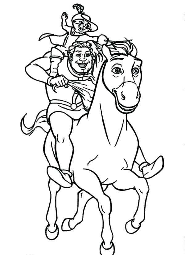 600x826 Puss In Boots Coloring Pages Riding On Donkey With Puss In Boots