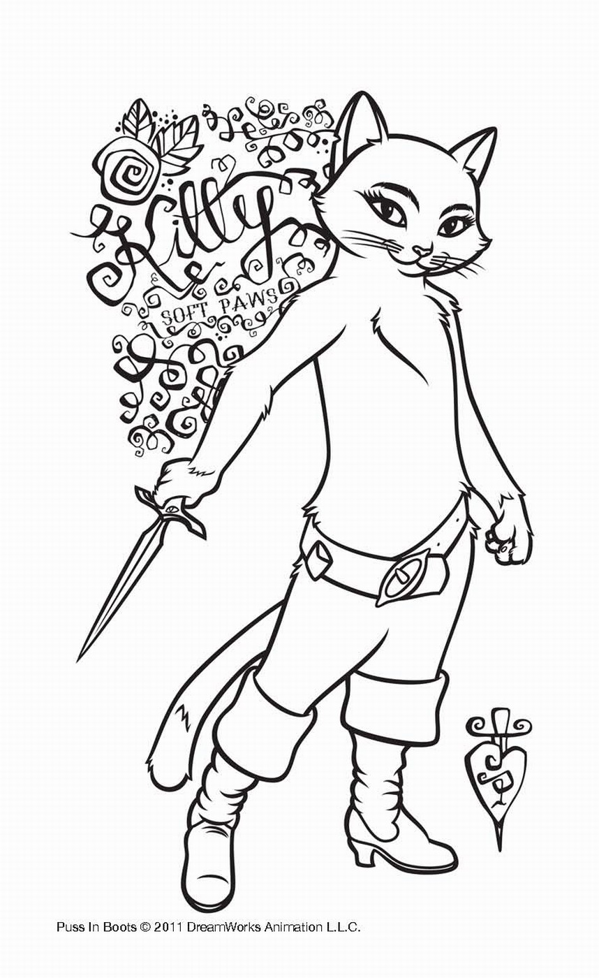 858x1400 Puss In Boots Coloring Pages