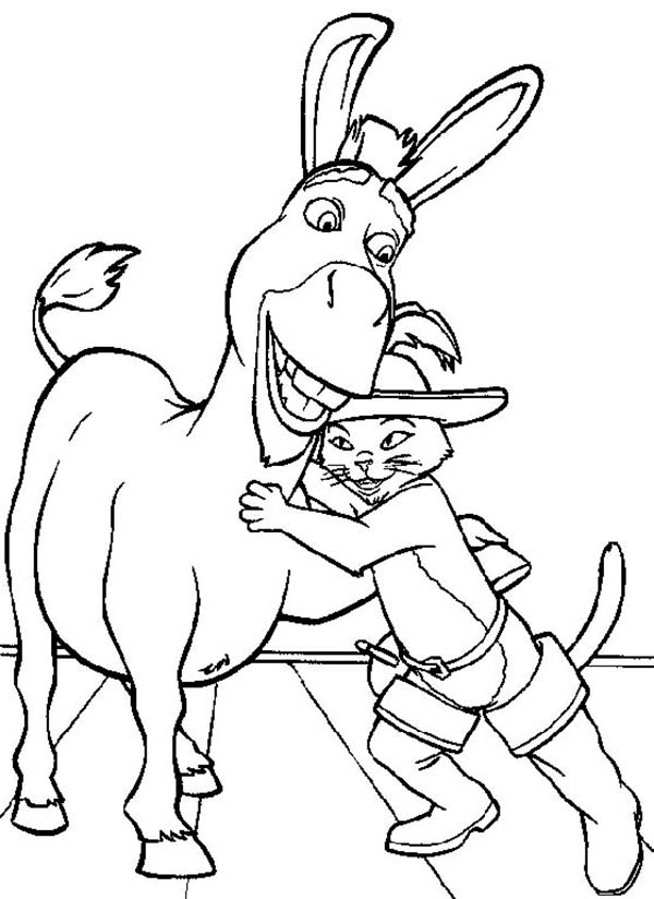 600x824 Puss In Boots Hug Donkey Coloring Pages Batch Coloring