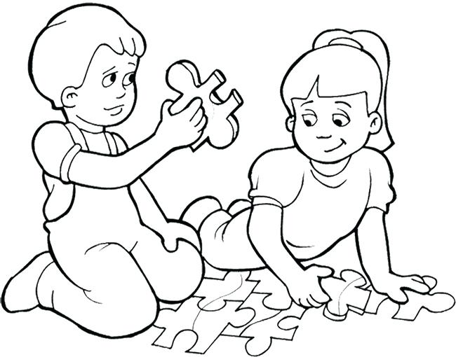 650x510 Ideas Coloring Pages Of Kids For Kids Playing Games Puzzle