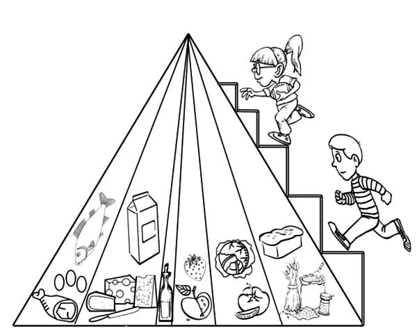 600x479 Two Kids Stepping On Food Pyramid Coloring Pages