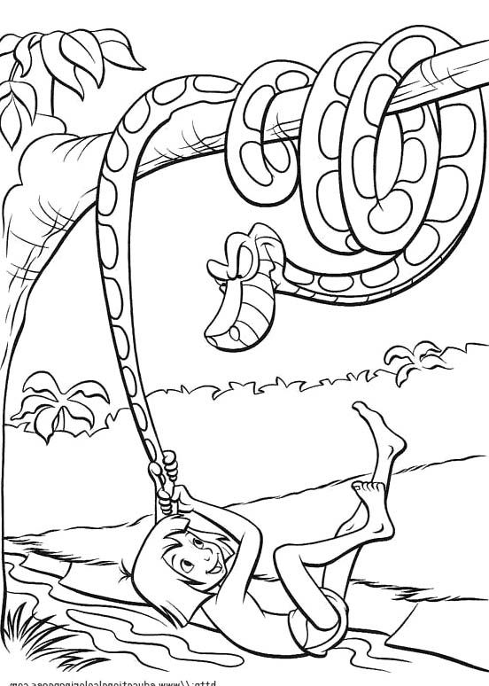 552x774 Mowgli With Kaa The Python Coloring Pages