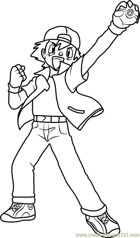 470x800 Ash Ketchum Pokemon Coloring Page
