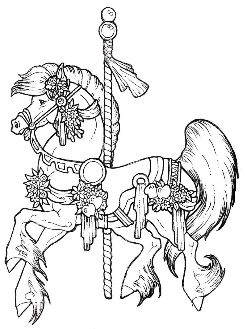 800x1068 Carousel Horse Coloring Pages Adults Collection Coloring