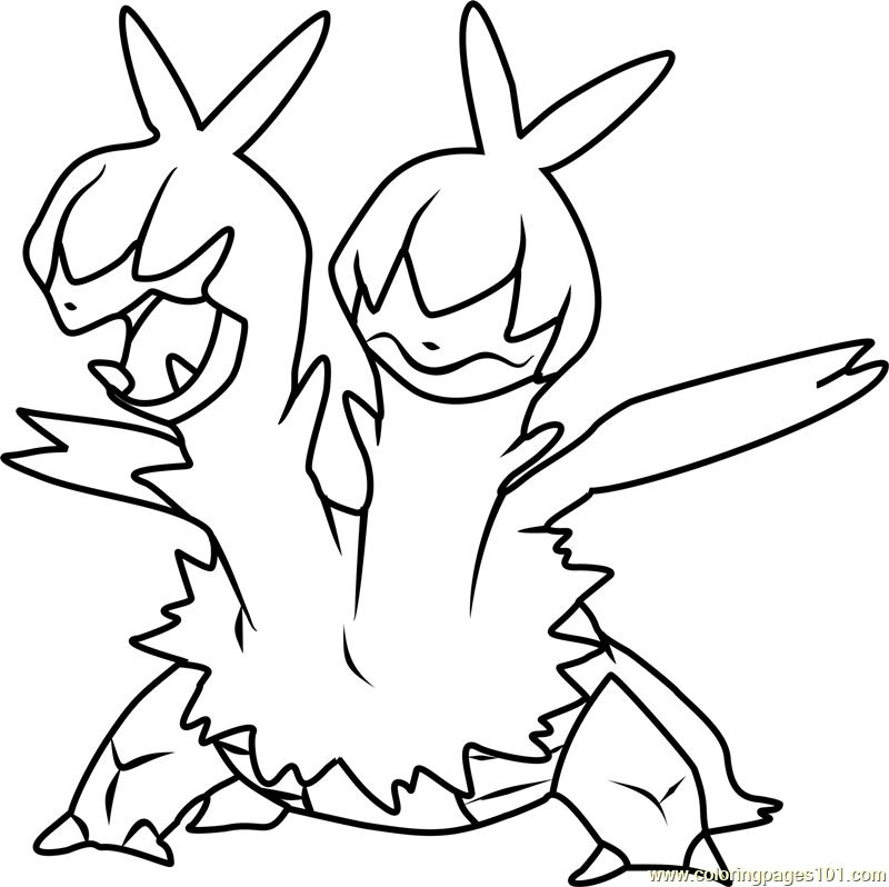 800x798 Zweilous Pokemon Coloring Page