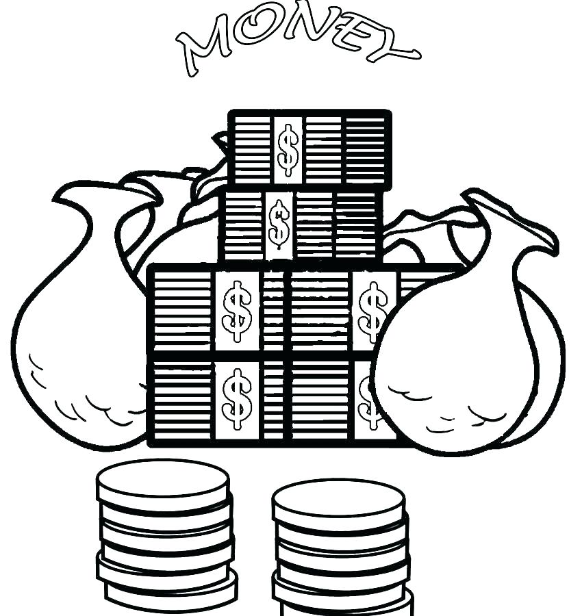 850x900 Coloring Pages Of Money Money Coloring Pages Banknotesnd Coins